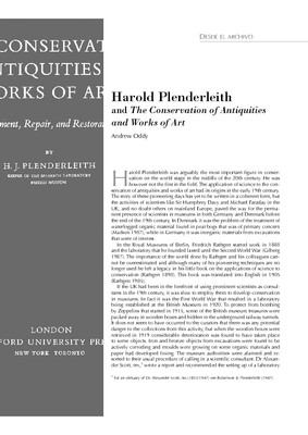 Harold Plenderleith and The Conservation of Antiquities and Works of Art