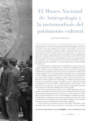 El Museo Nacional de Antropología y la metamorfosis del patrimonio cultural