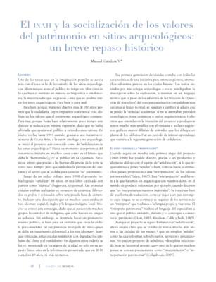El INAH y la socialización de los valores del patrimonio en sitios arqueológicos: un breve repaso histórico