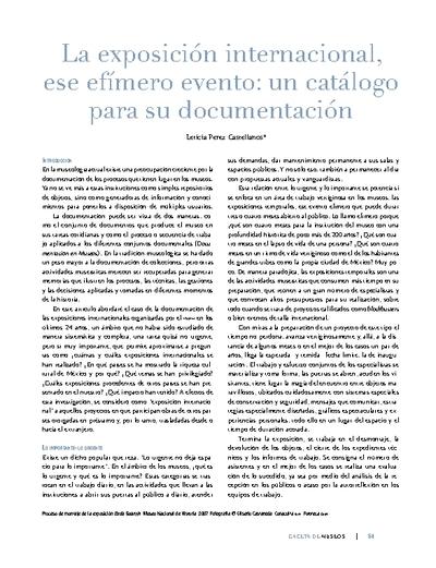 La exposición internacional, ese efímero evento: un catálogo para su documentación