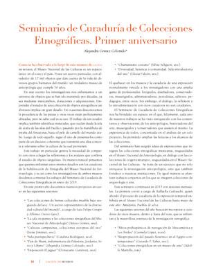 Seminario de Curaduría de Colecciones Etnográficas. Primer aniversario
