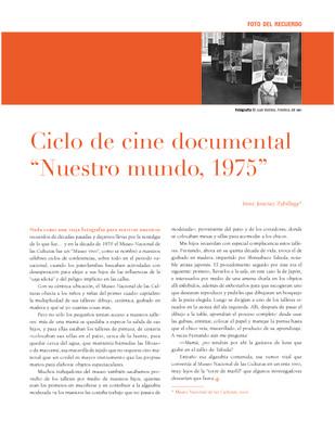 """Ciclo de cine documental """"Nuestro mundo, 1975"""""""