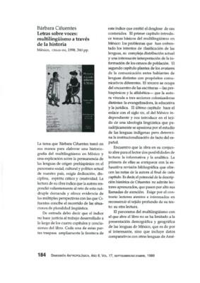 Barbara Cifuentes, Letras sobre voces: multilingüismo a través de la historia, México, CIESAS-INI, 1998, 340 pp.