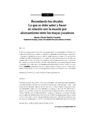 Recordando los rituales; lo que se debe saber y hacer con relación a la muerte por ahorcamiento entre los mayas yucatecos