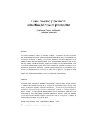 Comunicación y memoria: Semiótica de rituales post-entierro
