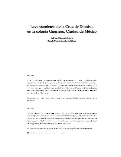 Levantamiento de la Cruz de Dionisia en la Colonia Guerrero de la ciudad de México