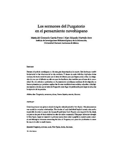 Los sermones del purgatorio en el pensamiento novohispano