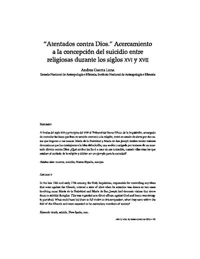 """""""Atentados contra Dios"""". Acercamiento a la concepción del suicidio entre religiosas durante el siglo XVI y XVII."""