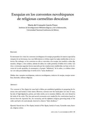 Exequias en los conventos novohispanos de religiosas Carmelitas Descalzas
