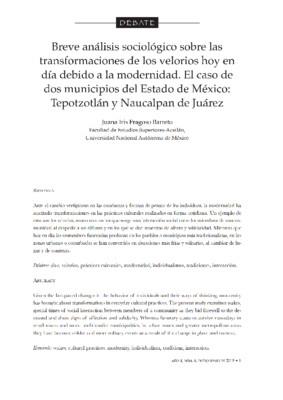 Breve análisis sociológico, sobre las transformaciones de los velorios en la actualidad, a consecuencia de la modernidad; caso específico de dos municipios del Estado de México: Tepotzotlán y Naucalpan de Juárez.