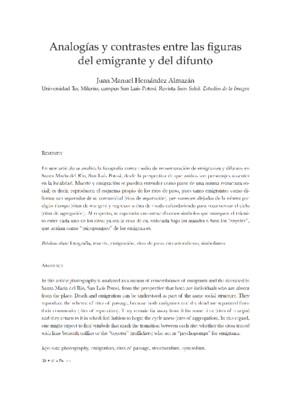 Analogías y contrastes entre la figura del emigrante y del difunto