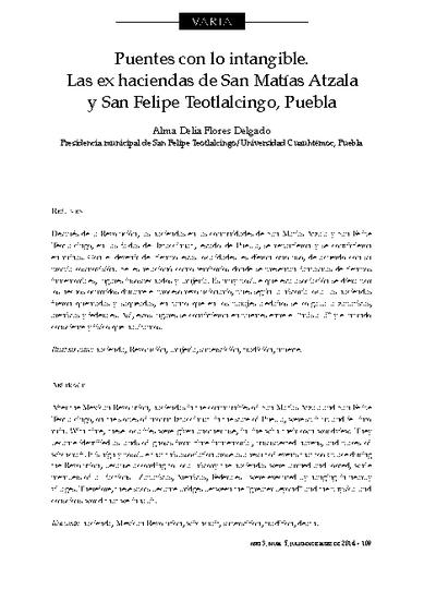 Puentes con lo intangible. Las ex haciendas de San Matías Atzala y San Felipe Teotlalcingo, Puebla