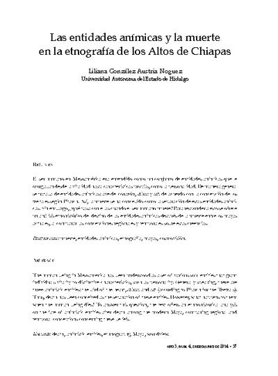 Las entidades anímicas y la muerte en la etnografía de los Altos de Chiapas