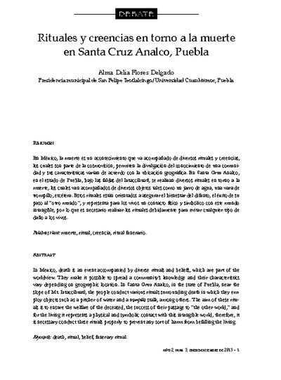 Rituales y creencias en torno a la muerte en Santa Cruz Analco, Puebla