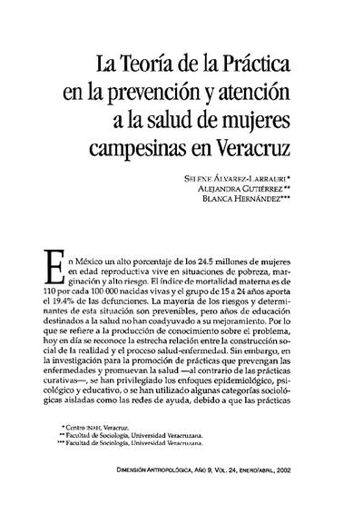La Teoría de la Práctica en la prevención y atención a la salud de mujeres  campesinas en Veracruz