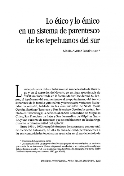 Lo ético y lo émico en un sistema de parentesco de los tepehuanos del sur
