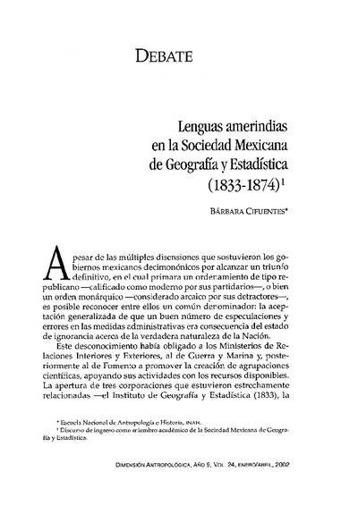 Lenguas amerindias en la Sociedad Mexicana de Geografía y Estadística  (1833-1874)