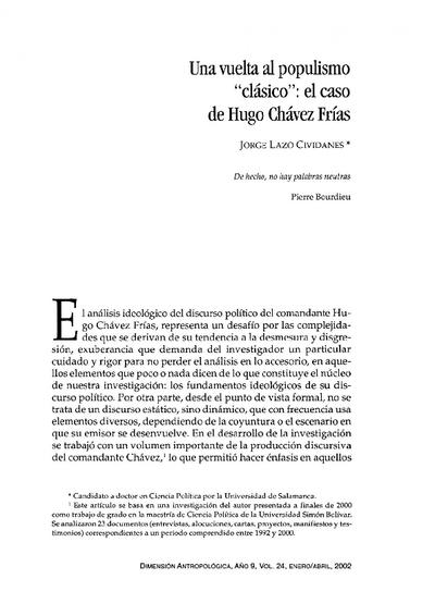 """Una vuelta al populismo """"clásico"""": el caso de Hugo Chávez Frías"""