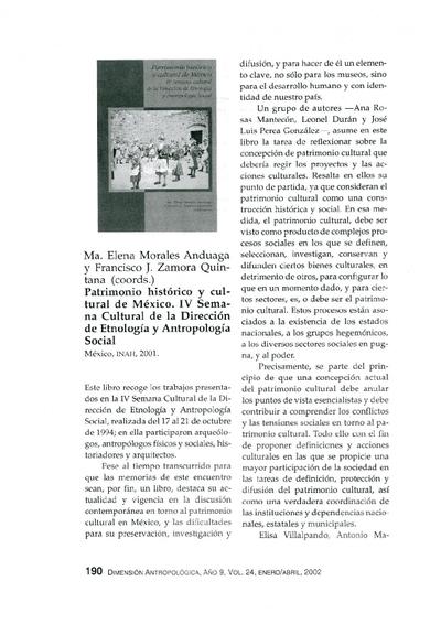 Ma. Elena Morales Anduaga y Francisco J. Zamora Quintana, (coords.), Patrimonio histórico y cultural de México. IV Semana Cultural de la Dirección de Etnología y Antropología Social, México, INAH, 2001.