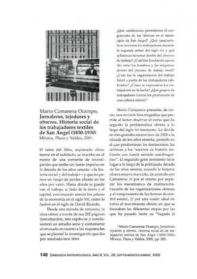 Mario Camarena Ocampo, Jornaleros, tejedores y obreros. Historia social de los trabajadores textiles de San Ángel (1850-1930), México, Plaza y Valdés, 2001.