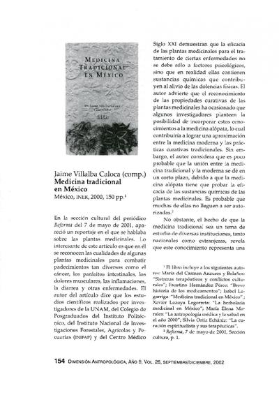 Jaime Villalba Caloca (comp.), Medicina tradicional en México, México, INER, 2000, 150 pp.