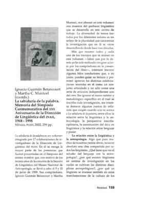 Ignacio Guzmán Betancourt  y Martha C. Muntzel (coords.), La sabiduría de la palabra. Memoria del Simposio Conmemorativo del XXX Aniversario de la Dirección de Lingüística del INAH, 1968 - 1998, México, INAH, 2002, 259 pp.