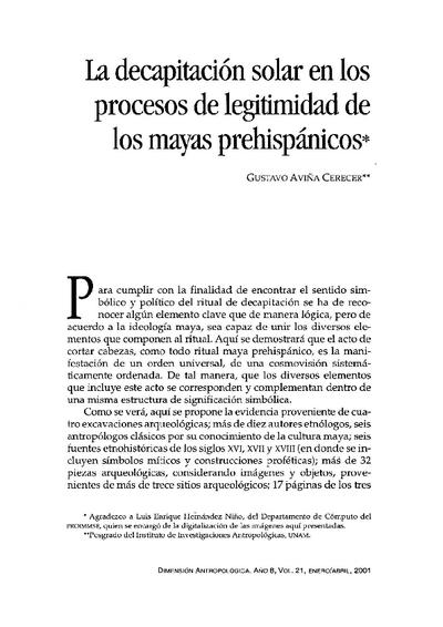 La decapitación solar en los procesos de legitimidad de los mayas prehispánicos