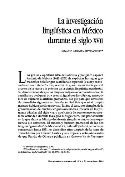 La investigación lingüística en México durante el siglo XVII