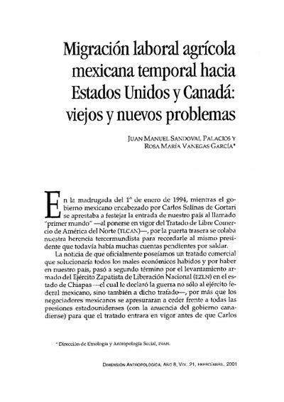 Migración Laboral agrícola mexicana temporal hacía Estados Unidos y Canadá: viejos y nuevos problemas