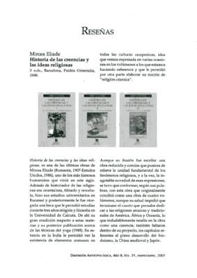 Mircea Eliade, Historia de las creencias y las ideas religiosas. 3 vols., Barcelona, Paidós Orientalia, 1999.