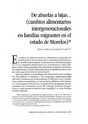 De abuelas a hijas... (cambios alimentarios intergeneracionales en familias migrantes en el estado de Morelos)