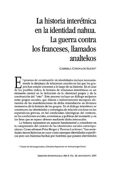 La historia interétnica  en la identidad nahua. La guerra contra  los franceses, llamados analtekos