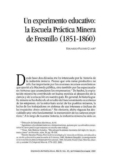 Un experimento educativo: la Escuela Práctica Minera de Fresnillo (1851-1860)