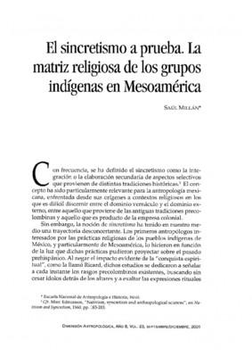El sincretismo a prueba. La matriz religiosa de los grupos indígenas en Mesoamérica