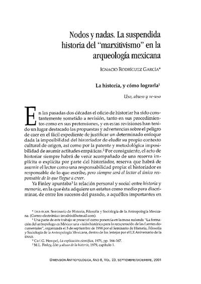 """Nodos y nadas. La suspendida historia del """"marxitivismo"""" en la  arqueología mexicana."""