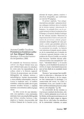 Aurora Castillo Escalona. Persistencia histórico-cultural. San Miguel Tolimán. Querétaro, Universidad Autónoma de Querétaro, 2000.
