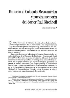 En torno al Coloquio Mesoamérica y nuestra memoria del doctor Paul Kirchhof