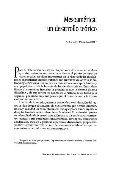 Mesoamérica: un desarrollo teórico