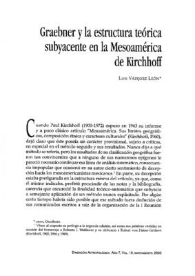 Graebner y la estructura teórica subyacente en la Mesomérica de Kirchhoff