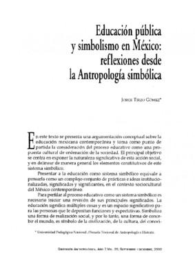 Educación pública y simbolismo en México: reflexiones desde la Antropología simbólica