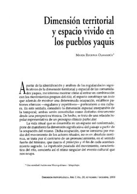 Dimensión territorial y espacio vivido en los pueblos yaquis