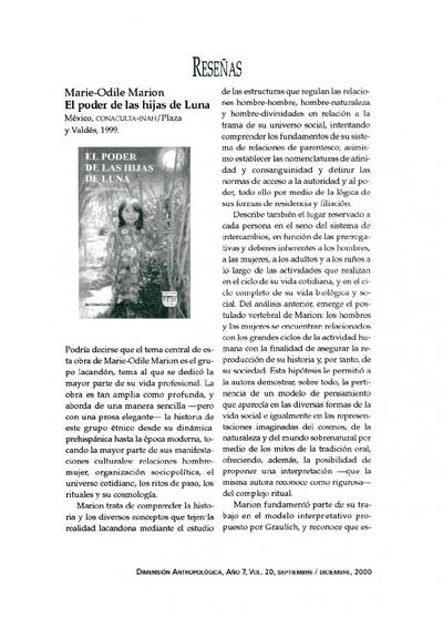 Marie-Odile Marion, El poder de las hijas de Luna, México, CONACULTA-INAH/Plaza y Valdés, 1999.