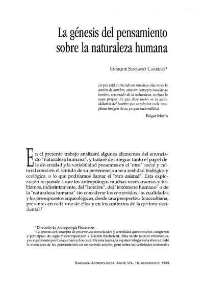 La génesis del pensamiento sobre la naturaleza humana