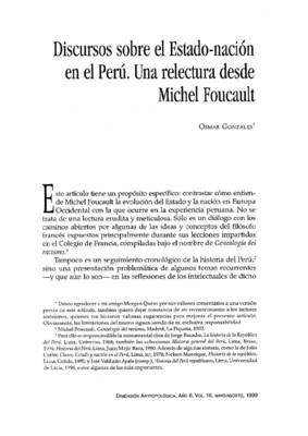 Discursos sobre el Estado-nación en el Perú. Una relectura desde Michel Foucault