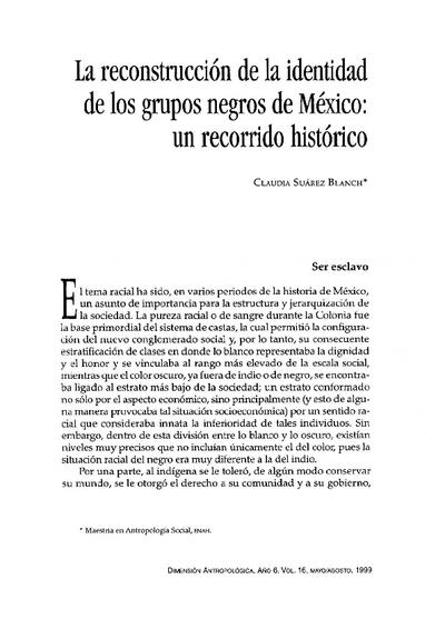 La reconstrucción de la identidad de los grupos negros de México: un recorrido histórico