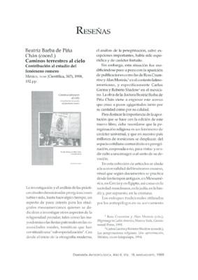 Beatriz Barba de Piña Chán (coord.), Caminos terrestres al cielo. Contribución al estudio del fenómeno romero, México, INAH (Científica 347), 1998, 182 pp.