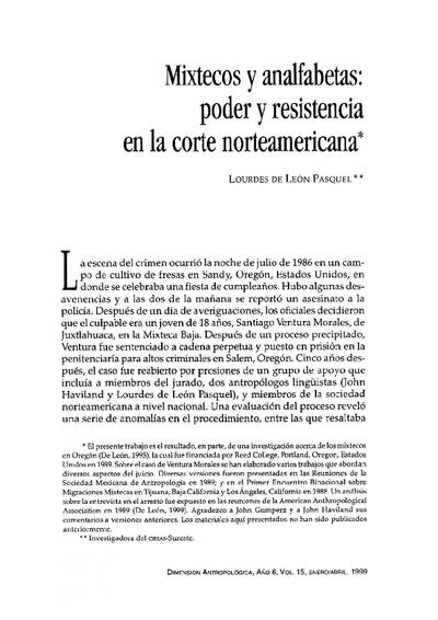 Mixtecos y analfabetas: poder y resistencia en la corte norteamericana