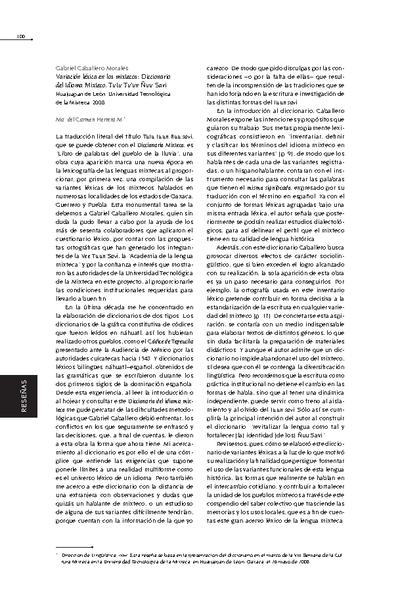 Variación léxica en los mixtecos: Diccionario del odioma mixteco. Tutu Tuún Ñuu Savi