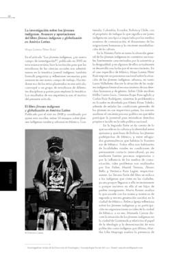 Investigación sobre los jóvenes indígenas. Avances y aportaciones del libro Jovenes indígenas y globalización en America Latina