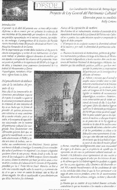 Proyecto de Ley General del Patrimonio Cultural